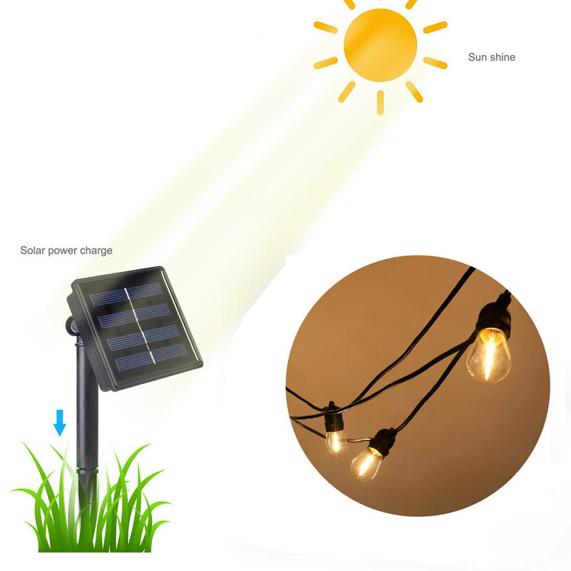 Waterproof Solar Power Festoon String Light Outdoor Garden Pergola