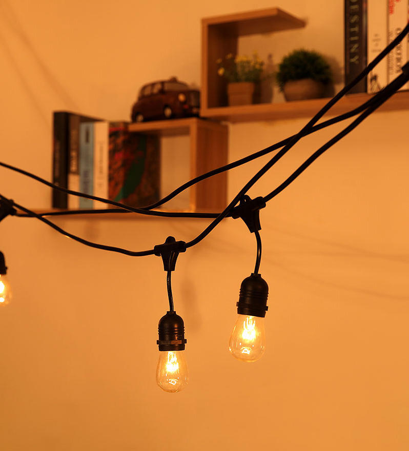 festival plug in string light design for patio