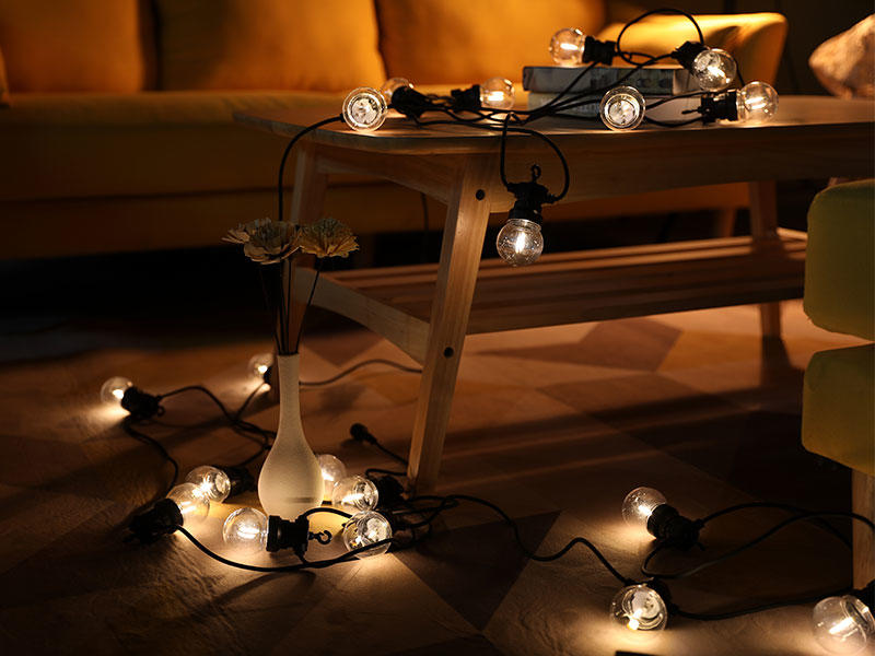 50 Festoon String Lights Warm White Patio Wedding Festival Lighting